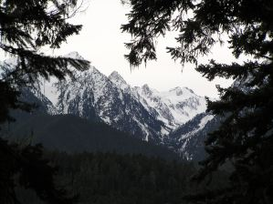 Snow on Mountains Seen From Elwha