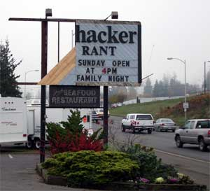 Bushwhacker Restaurant Sign Damage - Hacker Rant