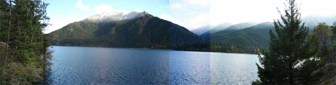 Lake Crescent Panorama Showing Snowline